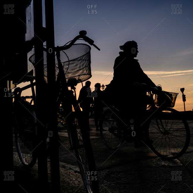 - April 5, 1904: Silhouetted cyclist in Italy