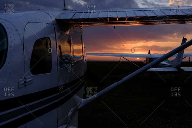 A plane at sunset, Kenya