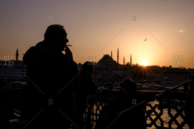 Istanbul, Turkey - March 1, 2016:  Istanbul scene in silhouette