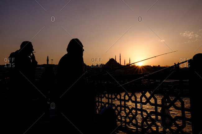 Istanbul, Turkey - March 1, 2016: People in silhouette