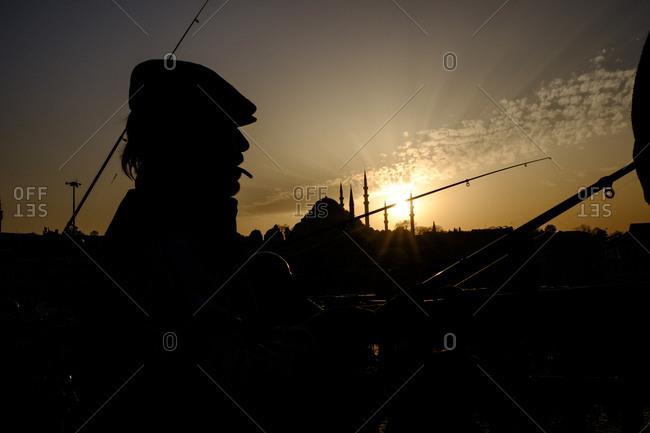 Istanbul, Turkey - March 1, 2016: Man in silhouette