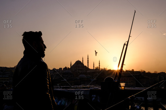 Istanbul, Turkey - March 1, 2016:  Man in silhouette