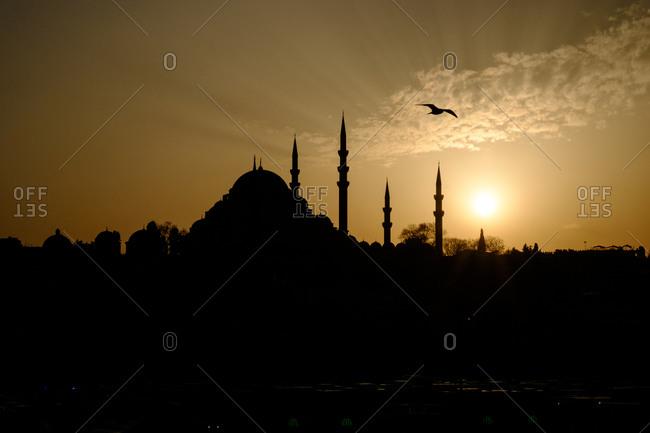 Hagia Sofia silhouetted, Istanbul