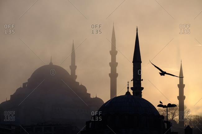 Hagia Sophia in silhouette in Istanbul