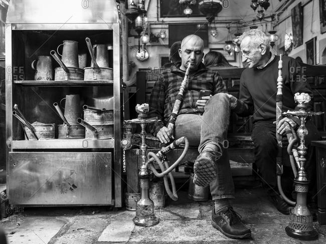 - April 5, 1904: Men smoking hookah, Istanbul