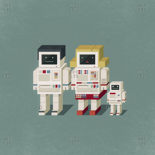 Cute vintage robot family composed of male, female and baby robot