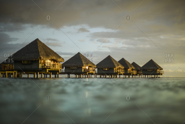 Huts over the water, Mo'orea Island, French Polynesia