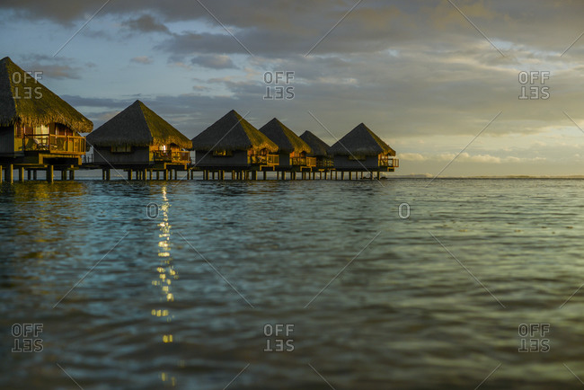 Water bungalows on the water, Mo'orea Island, French Polynesia