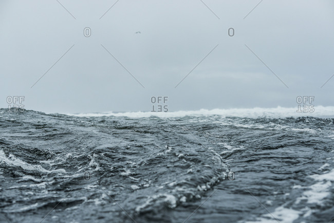 Raging waves in the Pacific ocean off the coast of Mo'orea Island, French Polynesia