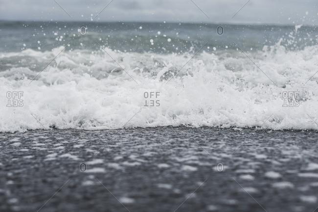 Crashing waves in the Pacific ocean off the coast of Mo'orea Island, French Polynesia