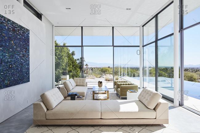 Malibu, CA - February 12, 2016: Sun room with comfy seating