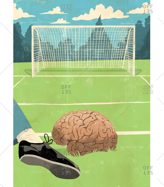 Brain about to be kicked into the goal on a soccer field