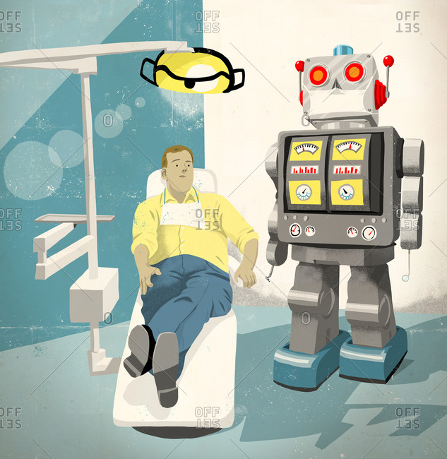 Man sitting in the chair at the dentist's office about to receive treatment from a robot
