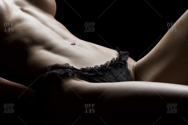 Woman wearing black panties