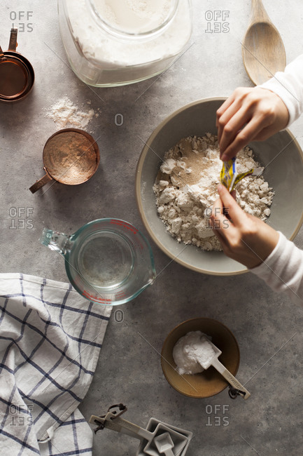 Preparing ingredients to make bread