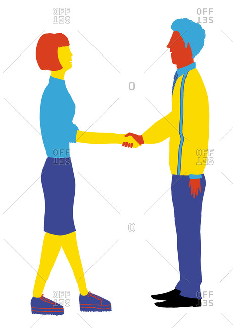 Illustration of a man and a woman shaking hands
