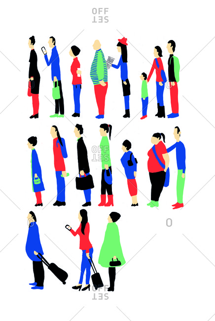 Illustration of people lined up with their luggage