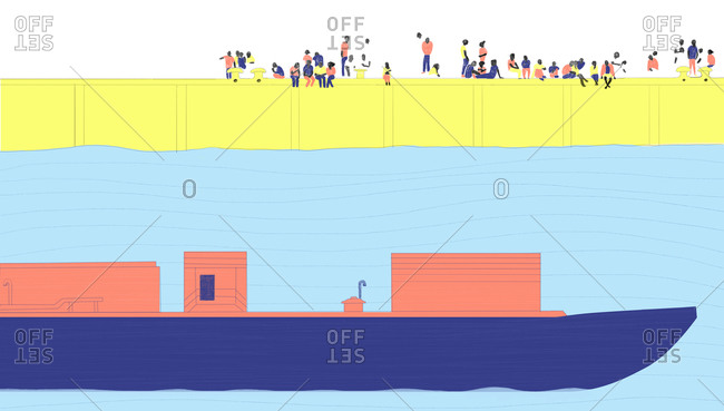 Illustration of people sitting along a waterfront watching a cargo ship pass