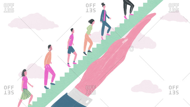 Illustration of people walking up stairs supported by an outstretched hand