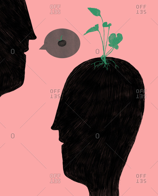 Illustration of a person planting a seed in another person's head