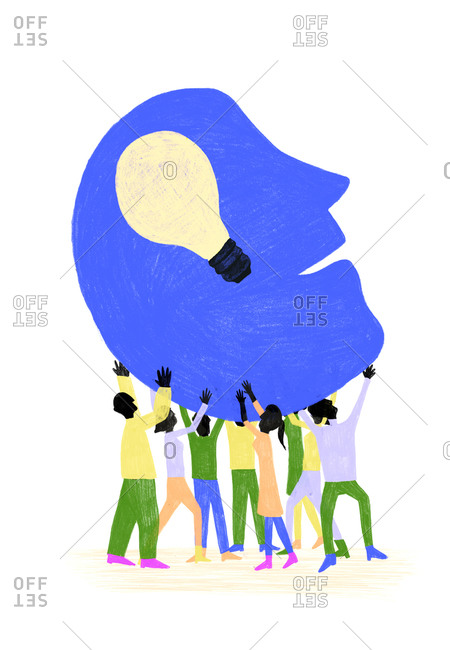 Illustration of people supporting a person with a good idea