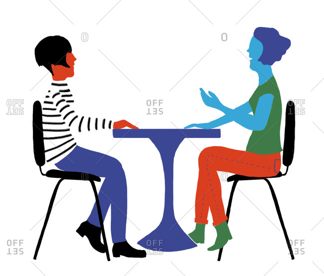 Illustration of two women talking at a table