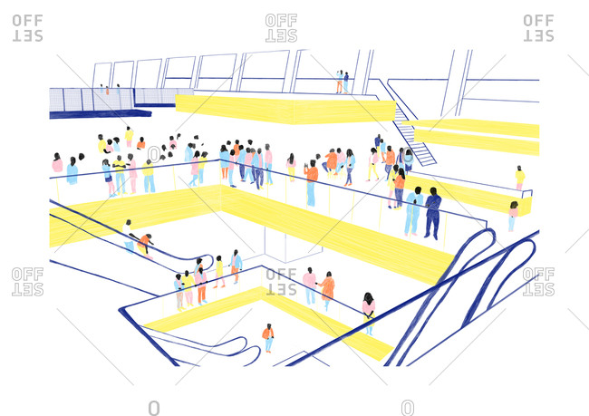 Illustration of people walking through a multi-level indoor gallery