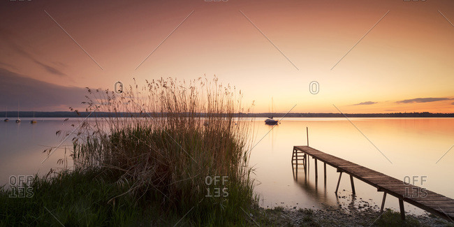 Boat on the Ammersee lake near Breitbrunn, Germany