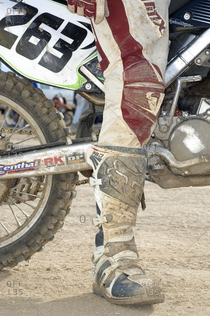 Dirty trouser of a motorcyclist