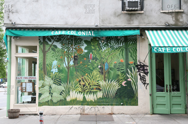Facade With Jungle Wall Paint In New York City Usa Stock Photo Offset
