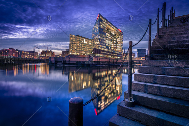 Hafencity and Ericusspitze building , headquarter of Der Spiegel, Hamburg, Germany