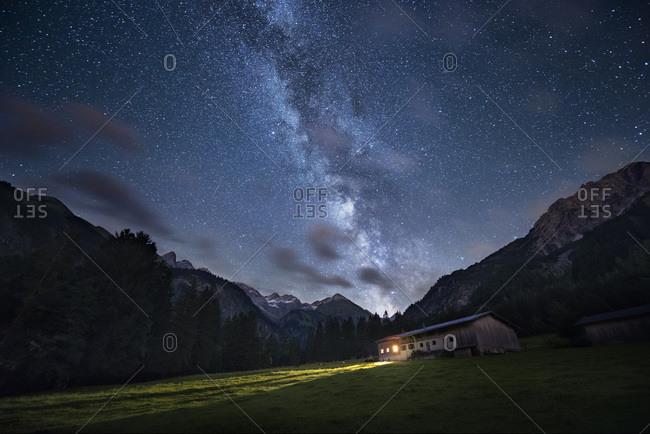 Nighttime at Birgsau in , Bavaria, Germany