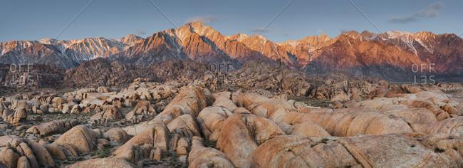 Panoramic view over Sierra Nevada near lone pine