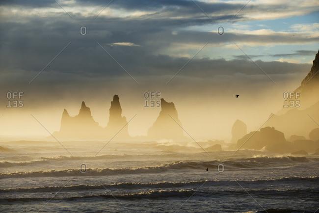 Reynisdrangar basalt sea stacks situated under the mountain Reynisfjall near the village V�k � Myrdal, Iceland