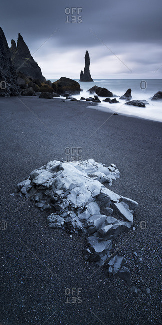Reynisdrangar basalt sea stacks situated under the mountain Reynisfjall near the village V�k � Myrdal; Iceland