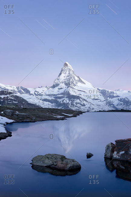 Stellisee and Matterhorn near Zermatt, Switzerland, at night