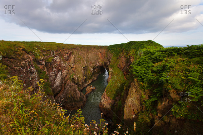 View at Bullers of Buchan a cliff in Scotland