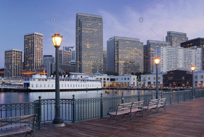 View from Pier 7 to the financial district in San Francisco