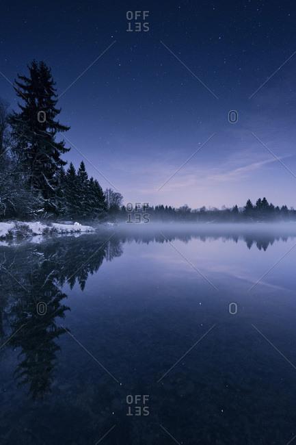 Wintery Auensee, Bavaria, Germany