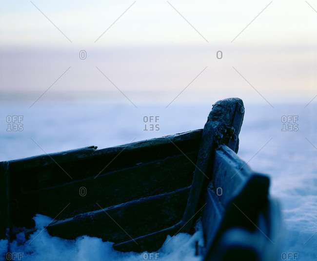 Wrecked ship covered in snow