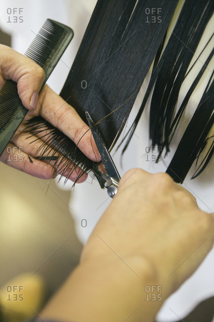 Hairdresser cutting the hair of a girl in a hairdressing