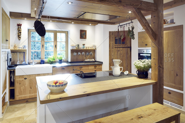 Rustic country style home with kitchen island