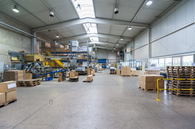 Empty industrial hall with stored packages, paletts and packaging machine