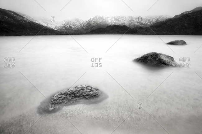 Spain, Province of Zamora, Lago de Sanabria, Natural Park, frozen lake