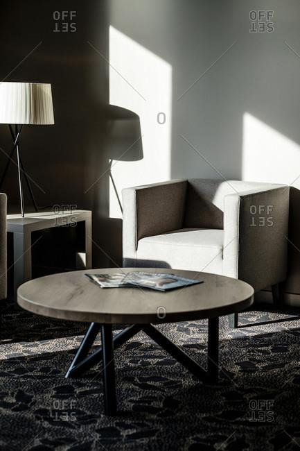 Furniture in a modern hotel lobby