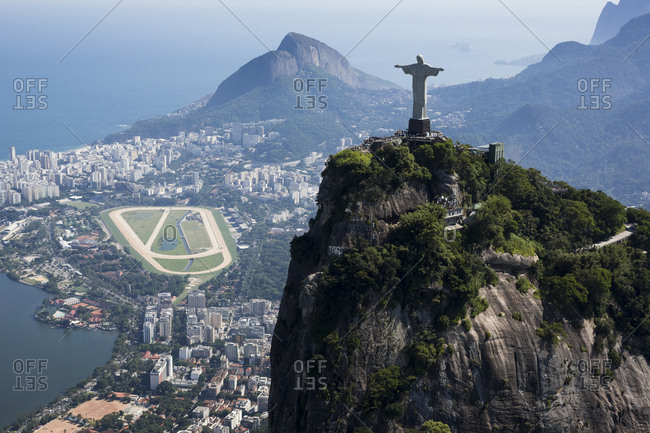 Brazil, Aerial view of Rio De Janeiro, Corcovado mountain with statue of Christ the Redeemer