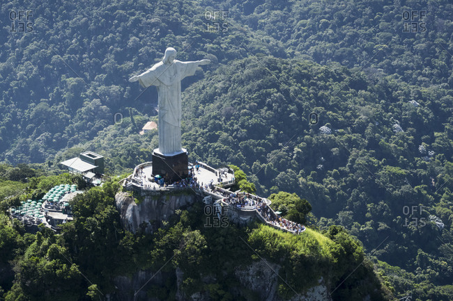 Brazil, Rio De Janeiro, Corcovado mountain with statue of Christ the Redeemer