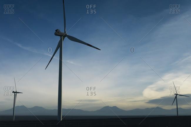 Chile, San Pedro de Atacama, windmills in Atacama desert