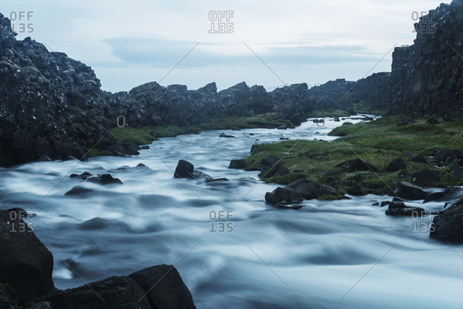 Iceland, Thingvellir National Park, cataracts at waterfall Oexararfoss