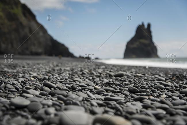 Iceland, Vik, pebble beach